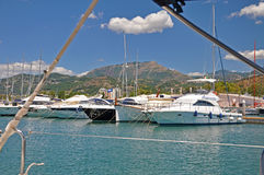 The view from the yacht - Sunny morning in the marina of Salerno Stock Images