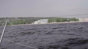 View from yacht to the embankment of Yacht Club Druzhba in Togliatti the day before the hurricane in July 2017 stock footage