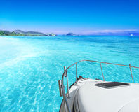 View from yacht. View of tropical sea from yacht stock images