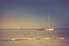 View of the yachts and the man floating on the sea. Budva, Montenegro. Royalty Free Stock Photography