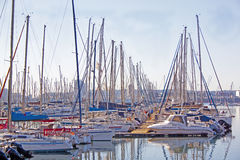 View of Yachts Moored in Durban Harbor South Africa. Collection of yachts moored at Durban yacht club in South Africa stock photo