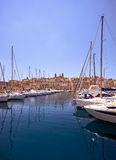 The view of yachts moored in harbor in Dockyard creek with Sengl Stock Images