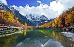 View of Yading ,Yunnan. Travel in Yading,Yunnan Province,China.autumn stock image
