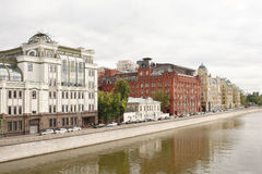 View of the Yakimanskaya embankments.On the waterfront walk peop Stock Images