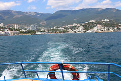 View of Yalta from aboard pleasure boats Royalty Free Stock Images