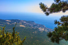View on Yalta from Ai-Petri mountain. Horizontal shot Stock Photo