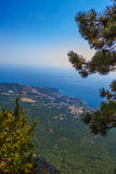 View on Yalta from Ai-Petri mountain. Vertical shot Stock Photography