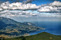 View of Yalta from Ai-Petri. View from the top of the Ai-Petri at Yalta and Yalta bay stock photos