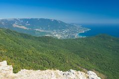 View on Yalta city from the Ai-Petri mountain. In Crimea, Ukraine Royalty Free Stock Photo