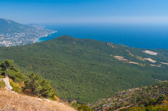 View on Yalta city from the Ai-Petri mountain. On Crimean peninsula royalty free stock images
