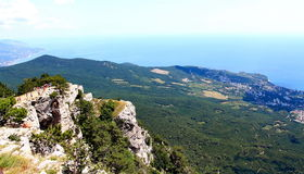 View on Yalta city from the Ai-Petri mountain. On Crimean peninsula Royalty Free Stock Photo