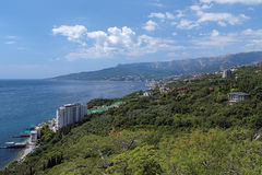 View on Yalta city and Ai-Petri mountain in Crimea, Ukraine Royalty Free Stock Photos