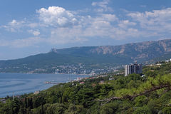View on Yalta city and Ai-Petri mountain in Crimea, Ukraine. View on Yalta city and Ai-Petri mountain from Nikita settlement in Crimea, Ukraine Royalty Free Stock Photo