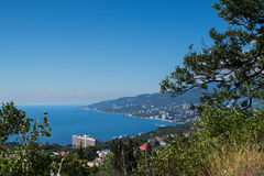 View on Yalta city bay from Massandra settlement in Crimea. Black sea landscape. Royalty Free Stock Images