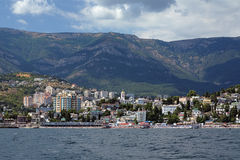 View on Yalta city from Black Sea, Crimea, Ukraine Stock Images