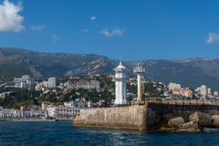 View of the Yalta lighthouse from the sea Stock Images
