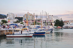 View of Yalta and marina with docked yachts; Crimea;. Russia royalty free stock image