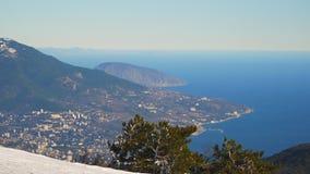 View of Yalta from Mount Ai-Petri Crimea stock footage