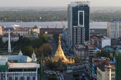 View of Yangon city in daylight from above Stock Images