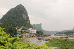 View of Yangshuo green hills and Lijiang river Stock Photos