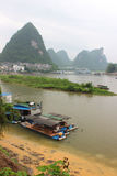 View of Yangshuo green hills and Lijiang river Royalty Free Stock Images
