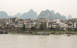 View of Yangshuo green hills and Lijiang river Royalty Free Stock Photos