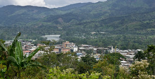 View of Yantzaza Ecuador. View overlooking Yantzaza Ecuador, a town at the edge of the Amazon Jungle royalty free stock photo