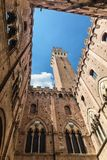 View from the yard of Palazzo Pubblico in Siena. Royalty Free Stock Image