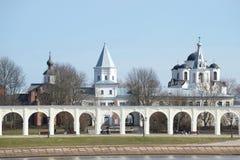 View of the Yaroslav courtyard april day. Veliky Novgorod royalty free stock photos