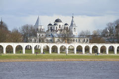 View of the Yaroslav courtyard cloudy spring day. Veliky Novgorod stock images