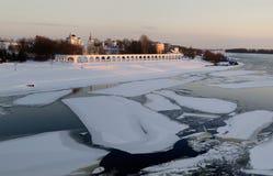 View Yaroslav's Court on winter sunset, Veliky Novgorod Royalty Free Stock Photos