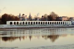 View Yaroslav`s Court at winter sunset, Veliky Novgorod Stock Image