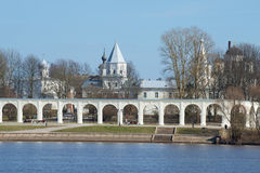 View of Yaroslavovo dvorishche in the April afternoon. Veliky Novgorod, Russia stock images