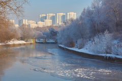 View on Yauza river in Moscow Stock Photos