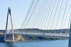 Yavuz Sultan Selim Bridge. A view of the Yavuz Sultan Selim bridge over the Bosphorus strait in Istanbul, Turkey Stock Photos