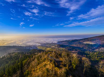 View from the Yburg to the Rhine valley in the middle the village Varnhal Stock Image