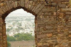 View from 400 year old heritage Golconda fort Stock Photo