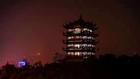View of the Yellow Crane Tower before turning on the evening light royalty free stock images