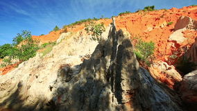 View of Yellow Orange Rock Formations Speckled with Wind stock video footage