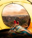 View from yellow tent. Dasbashi canyon. Georgia stock photo
