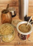 View of the Yerba mate and bombilla / South America drink Royalty Free Stock Photography