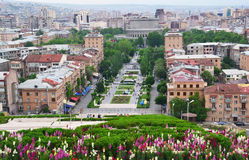 View of Yerevan center, Armenia. View of Yerevan center from Cascade, a giant stairway in Yerevan, Armenia Stock Image