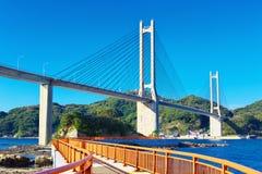 View of Yobuko Big Bridge with Benten Walk in Karatsu, Japan Royalty Free Stock Image