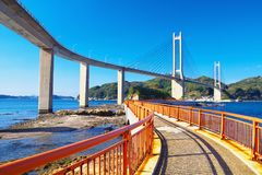 View of Yobuko Big Bridge with Benten Walk in Karatsu, Japan Royalty Free Stock Photo