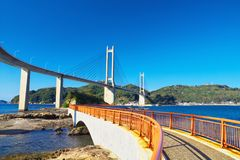 View of Yobuko Big Bridge with Benten Walk in Karatsu, Japan Royalty Free Stock Photos