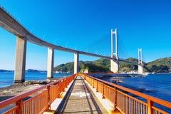 View of Yobuko Big Bridge with Benten Walk in Karatsu, Japan Royalty Free Stock Images