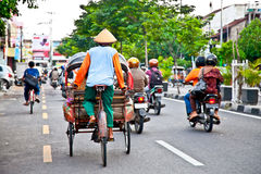 View of Yogyakarta with its typical hundreds of motorbikes on th Royalty Free Stock Image