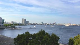 The View of Yokohama bay from Ramen Museum. stock video