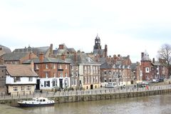 View at York city center in front of river stock images