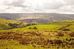 A view of the Yorkshire Dales, near Buckden Pike. Showing green fields and heather covered hills in the background Royalty Free Stock Photography